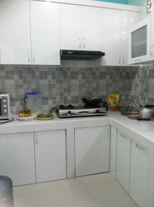 my messy kitchen...Its white and grey...